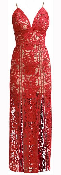 Czerwona koronkowa sukienka w stylu Lady Gagi