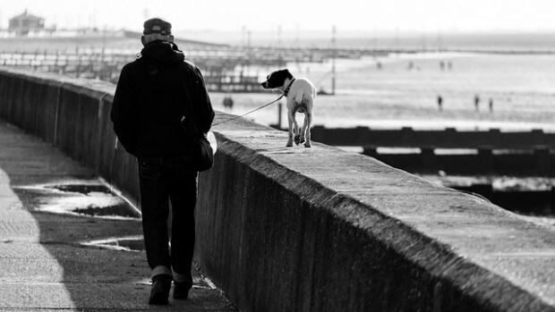 mężczyzna na spacerze z psem