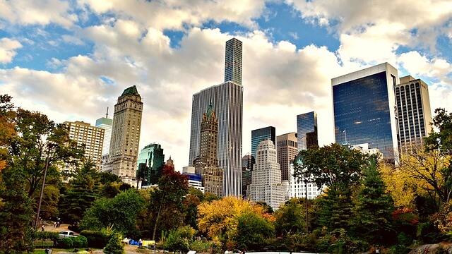 Widok na wieżowce w Central Park