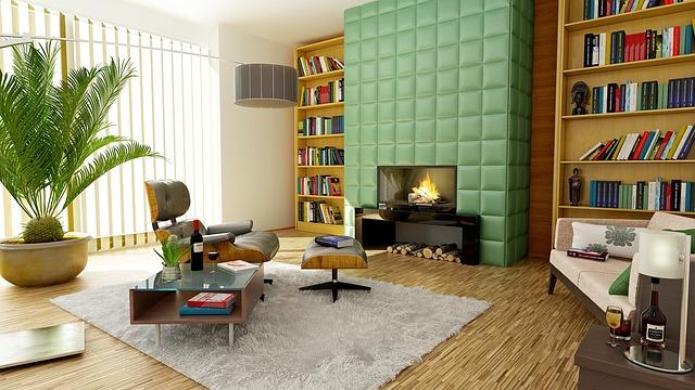 kominek w nowoczesnym salonie